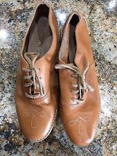 Leather Oxfords Womens 7 Vintage Retro Flats Shoes Lace Up 80's