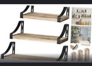 Amada Floating Shelves Wall Mounted, Rustic Paulownia Wood Wall Shelves Set of 3
