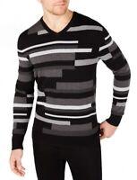 Alfani Mens Sweater Black Gray Size 2XL Textured Block Stripe V-Neck $75 075