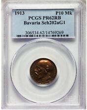 Bavaria 1913 Copper 10 Mark Proof PCGS PR62 Red Brown Collectible Pattern !