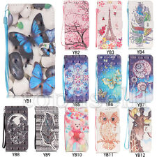 3D Flip Patterned PU Leather Strap Wallet Card S lot Stand Case Cover Bumper YB1