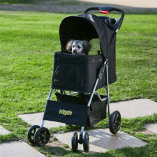 Used Foldable 4 Wheels Pet Strollers Dog Cat Stroller Puppy Traveling Cart Black