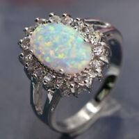 White AUSTRALIAN FIRE OPAL & Zircon Jewelry Gem Silver Plated RING SIZE 6/7/8/9