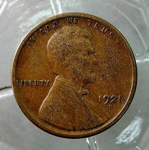 1921-S VERY FINE LINCOLN WHEAT BACK SMALL CENT.. COIN BOOK FILLER COIN ..#11839