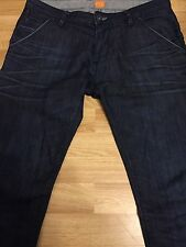 Luxury Hugo Boss Orange Uomo IN Denim Jean pantaloni blu W35 L42.5 IL33.5