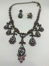 Women Purple Crystal Necklace Earring Party Bridal Dinner Dress Jewelry Set 1