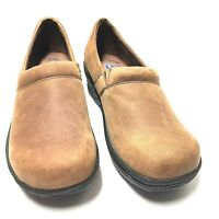 Dr Scholls Womens Suzie Clog Wedge Brown Nubuck Leather Slip On Shoes Size 9 M