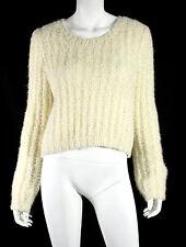 CHLOE Fall 2015 Vanilla Silk Mohair Chunky Knit Crewneck Sweater XS
