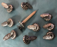 Vintage Set of 10 Tin Metal Pinecone Clip On Holders Candles Christmas Tree