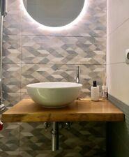 Mensola Sospesa per Lavabo Design in Rovere Massello, Arredo Bagno