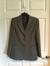 Jones Wear Pant's Suit, Woman's 12, Gray Herringbone, Blazer And Pants