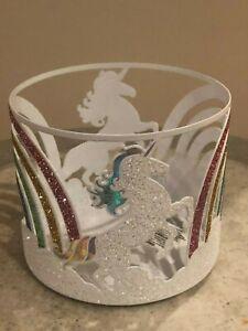 New Bath & Body Works Rainbow Unicorn Glittery Candle Holder 3 Wick