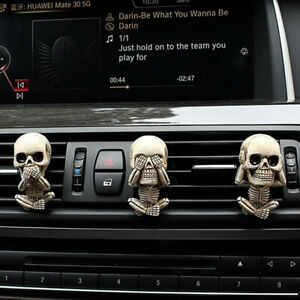 3PCS Ghost Head Car Air Freshener Set Funny Skull Resin Auto Air Outlet Clips
