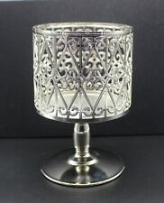 Bath And Body Works Silver Pedestal 3 Wick Candle Holder SB14
