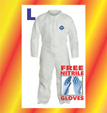 LARGE Tyvek Protective Coveralls Suit Hazmat Clean-Up Chemical FREE GLOVES