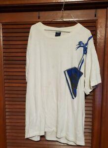 Vintage Nike Air Jordan 1 over the shoulder T shirt white w/blue and black shoes