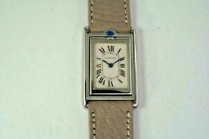CARTIER 2405 BASCULANTE STAINLESS STEEL REVERSO MID-SIZE w/ BOX C. 2000'S