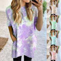 Womens Summer Tie-Dye Top Short Sleeve Crew-Neck T-Shirt Casual Tee Tops Blouse