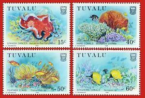ZAYIX - 1988 Tuvalu 465-468 MNH Marine Life / Coral / Fish