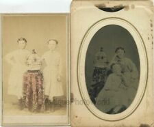 Two beautiful girls posing w bird cage CDV and tintype 2 rare antique photos