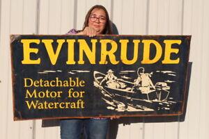 "Large Vintage Evinrude Outboard Boat Motors Fishing Gas Oil 48"" Metal Sign"