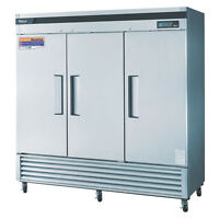 Turbo Air TSR-72SD, 82-inch Three Section Solid Door Reach-in Refrigerator - 72