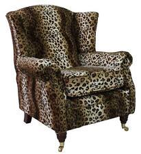 Handmade Ashley Fireside High Back Wing Armchair Animal Print Leopard Fabric