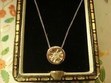Beautiful & Finely Crafted 9CT Gold: Sparkling Illusion Diamond Pendant Necklace