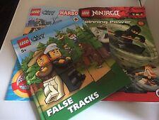 3 LEGO ACTIVITY BOOKS FALSE TRACKS, CITY HARBOUR, SPINNING POWER NO MNIFIGS