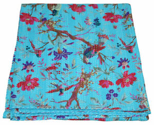 Indian Handmade Quilt Vintage Kantha Throw Bedspread Cotton Blanket Ralli Gudari