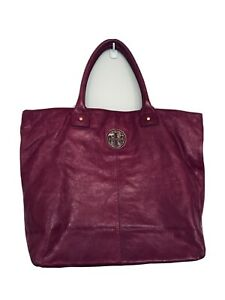 Tory Burch Leather Tote Shopper Bag Oversized XL Plum Red Enamel Logo