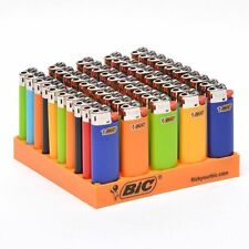 50x Bic Mini Gas Cigarette Lighter Genuine Assorted Solid Colours - Brand New