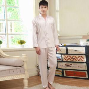 NWT 2PCS Mens Silk Satin Pajamas Sleepwear Pyjamas PJS Long Sleeve#N009 M L