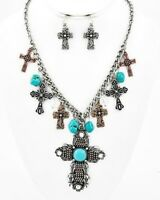 Cowgirl Gypsy Tri Tone Cross Charm Western Turquoise Crystal Statement Necklace