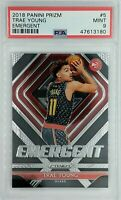 2018-19 Panini Prizm Emergent Trae Young Rookie RC #5, Insert, Graded PSA 9