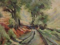 Adolf Richter (1869-1950) - kl. Gemälde: WEG ZWISCHEN BÄUMEN BERGAUF