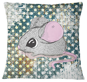 S4Sassy Teal Green Mouse Animal Print Square Cushion Cover Decorative-WKA