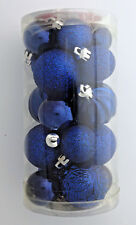 20 mini shatterproof Christmas ornaments blue & silver solid & glittered Holiday