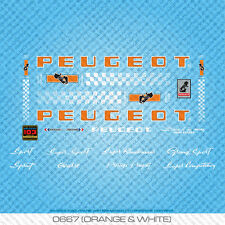 Peugeot PY/PX10 Bicycle Decals - Transfers - Stickers - Orange/White - Set 667