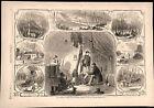 Camp Life War Scenes on Green River, Kentucky 1862 Civil War engraved print