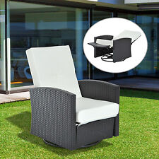 Rattan Wicker Reclining Sofa Swivel Chair Natural Cushioned Outdoor W/ Footrest
