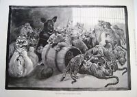 "1891 Newspaper Illustration by ""Louis Wain"" w/ Animals Playing    *"
