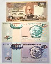 Angolan escudo UNC Lot of 3  Angola Banknotes