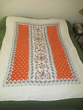 VINTAGE LINEN RED & BLUE PAISLEY BIRDS FLOWER MAN & WOMAN COURTING TABLECLOTH