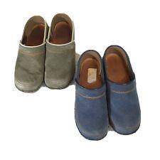 Lot of 2 Dansko Clogs Denim Studded Women's 36 5.5-6 Blue Green Shoes Heel