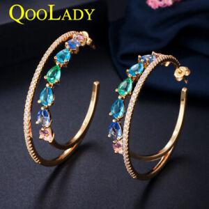 Luxury Double Circle Rainbow CZ Round Big Drop Hoop Earrings for Bridal Wedding