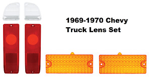 Tail Light, Reverse and Turn Signal Lenses For 1969-70 Chevy Pickup Truck