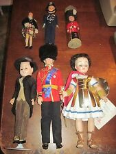 6 Old MALE Dolls by Nationality..PrinceCharles,MadameAlexander,Scotsman and more