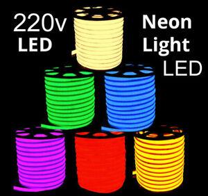 220V LED Neon Rope Lights Commercial Flex DIY Sign Decor Dimmable+UK Plug