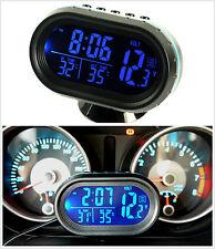 Car SUV LED Blue Backlight Outside Sensor Voltage Digital Display  Thermometer